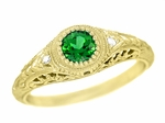 Art Deco Engraved Tsavorite Garnet and Diamond Filigree Engagement Ring in 18 Karat Yellow Gold