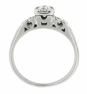 Retro Moderne Antique Diamond Engagement Ring in 14 Karat White Gold - Item R212 - Image 1