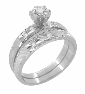 Radiant Stars Diamond Engagement Ring and Wedding Band Set in 14 Karat White Gold - Item R657 - Image 1