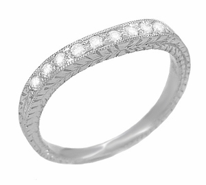 Art Deco Curved Engraved Wheat White Sapphire Wedding Band in 14 Karat White Gold - Item R635WS - Image 1