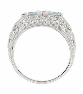 Art Deco Aquamarine Duo Filigree Ring in 14 Karat White Gold - Click to enlarge