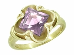 Victorian Square Emerald Cut Lilac Amethyst Ring in 14 Karat Yellow Gold