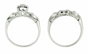 Retro Moderne Hearts and Clovers Diamond Wedding Set in 14 Karat White Gold - Click to enlarge