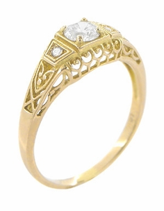 White Sapphire Art Deco Filigree Engagement Ring in 14 Karat Yellow Gold - Item R228YWS - Image 1