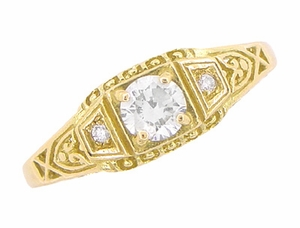 White Sapphire Art Deco Filigree Engagement Ring in 14 Karat Yellow Gold - Item R228YWS - Image 3