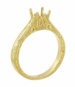Art Deco 1/2 Carat Crown Scrolls Filigree Engagement Ring Setting in 18 Karat Yellow Gold - Item R199PRY50 - Image 3