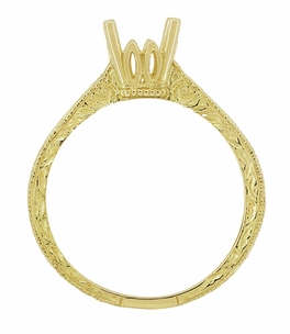 Art Deco 1/2 Carat Crown Scrolls Filigree Engagement Ring Setting in 18 Karat Yellow Gold - Click to enlarge