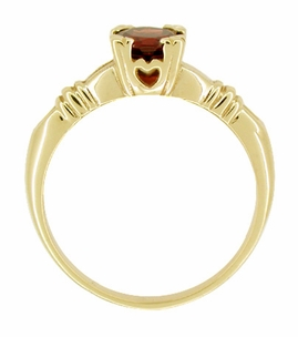 Art Deco Hearts and Clovers Almandine Garnet Engagement Ring in 14 Karat Yellow Gold - Click to enlarge
