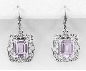 Art Deco Filigree Rose de France Amethyst Drop Earrings in Sterling Silver - Click to enlarge
