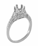 Art Deco 3/4 - 1 Carat Crown of Leaves Filigree Engagement Ring Setting in Platinum | 6mm to 6.5mm Round Stone