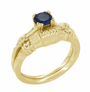 Art Deco Hearts and Clovers Blue Sapphire Engagement Ring in 14 Karat Yellow Gold - Click to enlarge