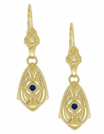 Art Deco Dangling Sterling Silver Blue Sapphire and Diamond Filigree Earrings with Yellow Gold Vermeil