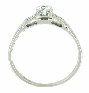Dainty 1950's Retro Moderne Antique Diamond Engagement Ring - 14K White Gold - Item R211 - Image 1