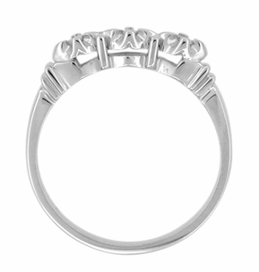 Retro Moderne Starburst Galaxy White Sapphire Wedding Ring in 14 Karat White Gold - Click to enlarge