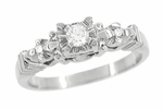 Retro Moderne Starburst Galaxy White Sapphire Engagement Ring in 14 Karat White Gold