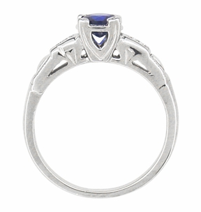 Mid Century Blue Sapphire and Diamond Antique Engagement Ring in Platinum - Click to enlarge