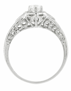 Art Deco Filigree Cubic Zirconia ( CZ ) Engagement Ring in Platinum - Item R407PCZ - Image 1