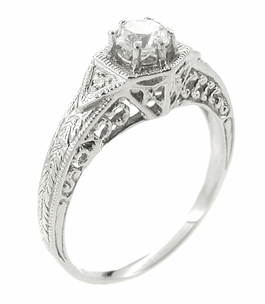 Art Deco Filigree Cubic Zirconia ( CZ ) Engagement Ring in Platinum - Item R407PCZ - Image 2