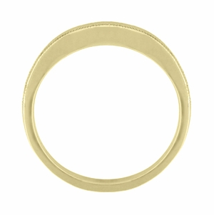 Millgrain Edge Curved Wedding Band in 14 Karat Yellow Gold - Item WR158YND - Image 2