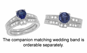 Art Deco Sapphire and Diamonds Engraved Engagement Ring in 18 Karat White Gold - Click to enlarge