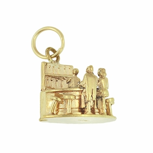 Moveable Bartender, Bar and Customer Vintage Charm in 14 Karat Yellow Gold - Click to enlarge