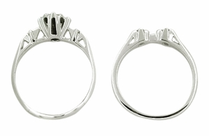 Retro Moderne Galaxy Wedding Set in 14 Karat White Gold - Item WSR103 - Image 1