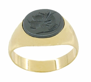 Vintage Hematite Intaglio Ring in 14 Karat Yellow Gold - Item R974 - Image 3