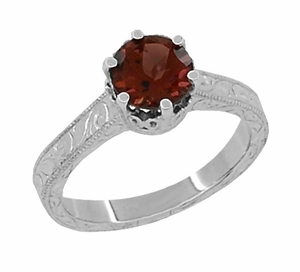 Art Deco Crown Filigree Scrolls 1.5 Carat Almandine Garnet Engagement Ring in 18 Karat White Gold - Click to enlarge