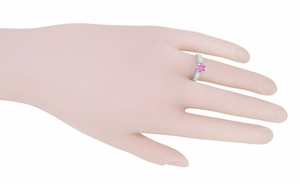 Art Deco Filigree Pink Sapphire and Diamond Vintage Style Engagement Ring in 14 Karat White Gold - Click to enlarge