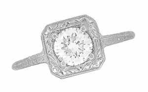 Filigree Scrolls 3/4 Carat Diamond Engraved Engagement Ring in 14 Karat White Gold - Click to enlarge