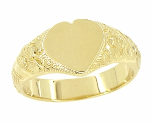 Victorian Heart Shape Scrolls and Flowers Signet Ring in 14 Karat Yellow Gold For a Man - Item R659 - Image 1
