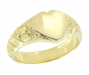 Victorian Heart Shape Scrolls and Flowers Signet Ring in 14 Karat Yellow Gold - Click to enlarge
