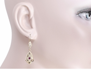 Art Deco Dangling Sterling Silver Ruby and Diamond Filigree Earrings with Yellow Gold Vermeil - Item E178YR - Image 2