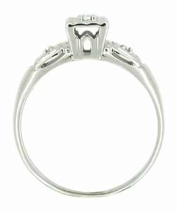 Retro Moderne Lucky Clover Diamond Antique Engagement Ring in 14 Karat White Gold - Click to enlarge