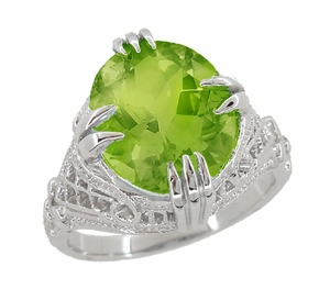 Peridot Art Deco Filigree Ring in 14 Karat White Gold - Click to enlarge