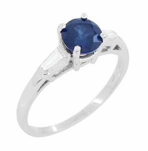Antique Mid Century Blue Sapphire and Diamond Baguettes Engagement Ring in Platinum - Click to enlarge