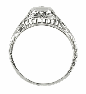 Filigree Antique Engagement Ring in 10 Karat White Gold - Click to enlarge