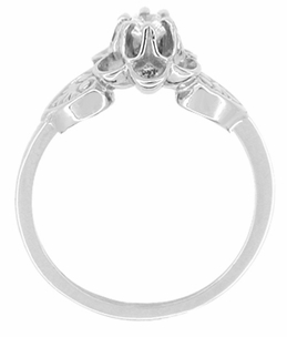 Flowers and Leaves White Sapphire Engagement Ring in 14 Karat White Gold - Item R373W25WS - Image 1