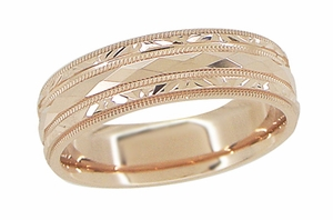Engraved Kaleidoscope and Chevrons Wedding Band in 14 Karat Rose Gold - Item R859R - Image 1
