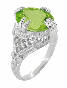 Peridot Art Deco Filigree Ring in 14 Karat White Gold - Item R157PER - Image 2