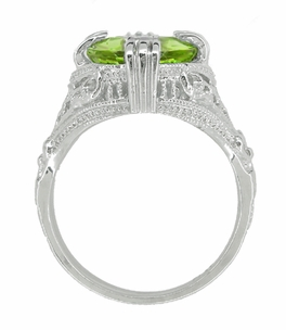 Peridot Art Deco Filigree Ring in 14 Karat White Gold - Item R157PER - Image 3