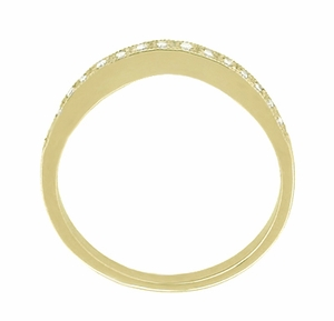 White Sapphire Curved Wedding Band in 14 Karat Yellow Gold - Click to enlarge