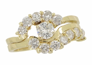 Cascading Diamonds Estate Wedding Ring Set in 14 Karat Gold - Item WSR101 - Image 1
