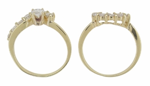 Cascading Diamonds Estate Wedding Ring Set in 14 Karat Gold - Item WSR101 - Image 3