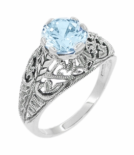 Edwardian Filigree Blue Topaz Ring in Sterling Silver - Click to enlarge