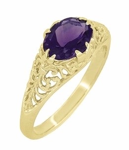 Edwardian Oval Amethyst Filigree Ring in 14 Karat Yellow Gold - Click to enlarge