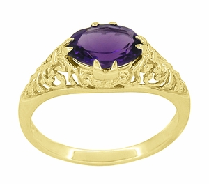 Edwardian Oval Amethyst Filigree Ring in 14 Karat Yellow Gold - Item R799YAM - Image 2