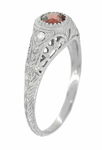 Art Deco Engraved Rhodolite Garnet and Diamond Filigree Engagement Ring in 14 Karat White Gold - Click to enlarge