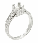 Art Deco 1/3 Carat Diamond Filigree Palladium Engagement Ring Mounting