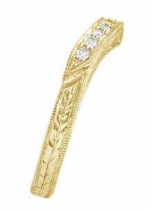 Art Deco Engraved Wheat Curved Diamond Wedding Band in 18 Karat Yellow Gold - Item WR679YD - Image 1